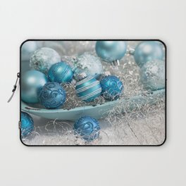 Blue  turquoise christmas baubles and bowl Laptop Sleeve