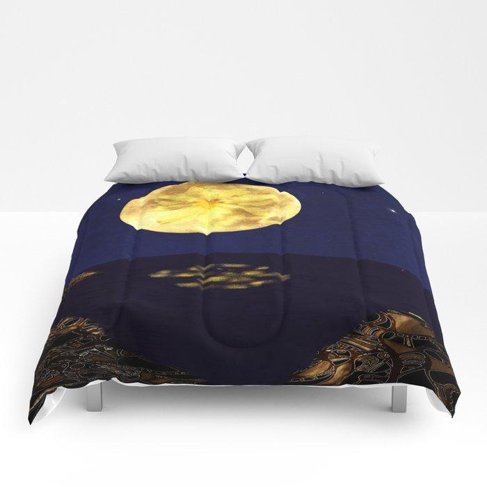 Yellow Dahlia Moon Comforters