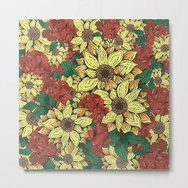 sunflowers&roses Metal Print