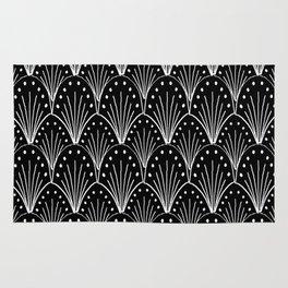 linocut 20s art deco pattern minimal black and white printmaking art Rug