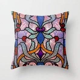 Art Nouveau Stain Glass Victorian Pastel Design Throw Pillow
