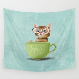 Kitten with glasses Wall Tapestry