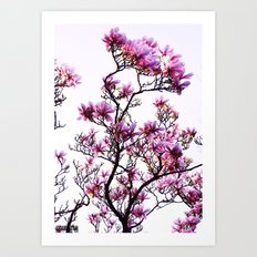Pink Flower Tree Art Print