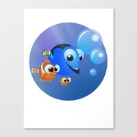 finding nemo Canvas Prints featuring Finding Nemo by David Rojas
