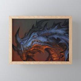 Magnificent Impressive Horned Fairytale Monster Reptile Face UHD  Framed Mini Art Print