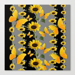YELLOW BUTTERFLIES & SUNFLOWERS ART PANELS Canvas Print