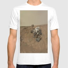 NASA Curiosity Rover's Self Portrait at 'John Klein' Drilling Site in HD White Mens Fitted Tee MEDIUM