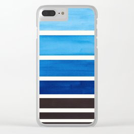 Blue Minimalist Mid Century Modern Color Fields Ombre Watercolor Staggered Squares Clear iPhone Case