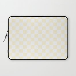 Small Checkered - White and Cornsilk Yellow Laptop Sleeve