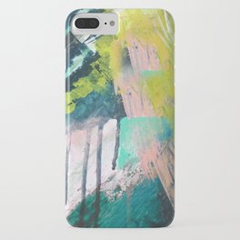 Melt: a vibrant abstract mixed media piece in blues, greens, pink, and white iPhone Case