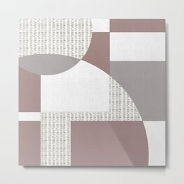 Geometric Intersecting Circles and Rectangles in Mauve and Aubergine Metal Print