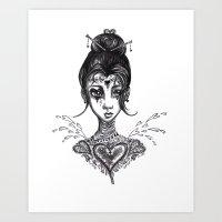 valentina Art Prints featuring Valentina by Sharayah Honeyager