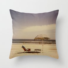 Beach Umbrella - Polaroid Throw Pillow