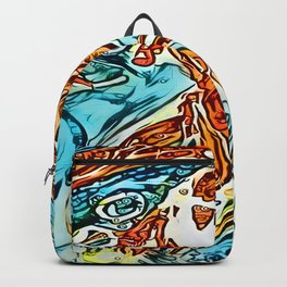 Bubbly Goldfish watercolor by CheyAnne Sexton Backpack