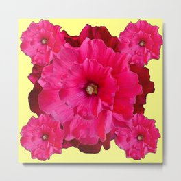 YELLOW FUCHSIA-PINK  DOUBLE  HOLLYHOCK FLOWERS GARDEN Metal Print
