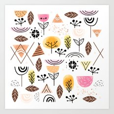 Mid-Century Awesome (Pink) Art Print