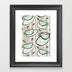 Cups Medley Green Stripes Framed Art Print