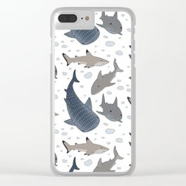 Shark Pattern Clear iPhone Case