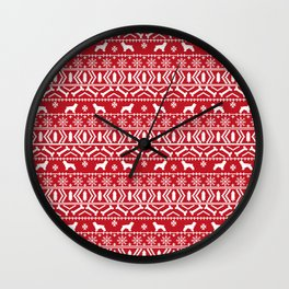 Cocker Spaniel fair isle christmas pattern dog breed holiday gifts red and white Wall Clock
