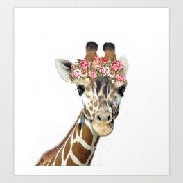 Giraffe with Flower Crown Kunstdrucke