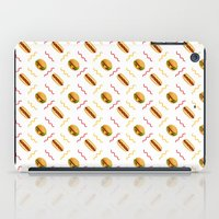 hot dog iPad Cases featuring Hot Dog Burger Hot Dog by Brianne Burnell