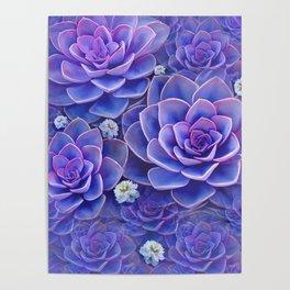 """""""Bouquet of pastel violet exotic succulents"""" Poster"""