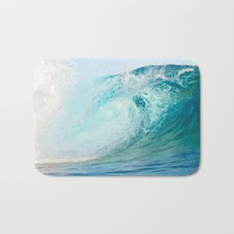 Pacific big surfing wave breaking Bath Mat