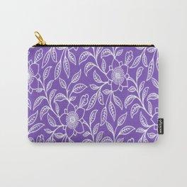 Vintage Lace Floral Purple Carry-All Pouch