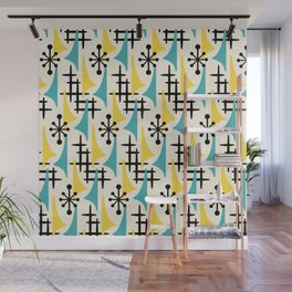 Mid Century Modern Atomic Wing Composition Turquoise & Yellow Wall Mural