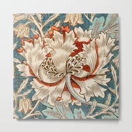 Honeysuckle flower pattern flowers by William Morris. British textile fine art. Metal Print