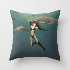 Shark Wrangler Throw Pillow