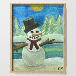 Sun-Kissed Snowman Serving Tray