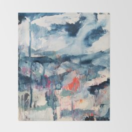 Before the Storm - an abstract acrylic and ink piece in blues, white, pink, and red Throw Blanket