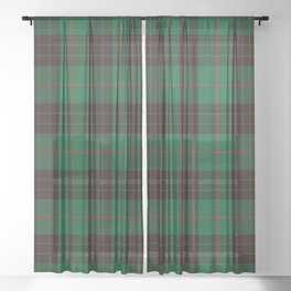 Dark Green Tartan with Black and Red Stripes. Large-Scale Plaid Pattern. Sheer Curtain