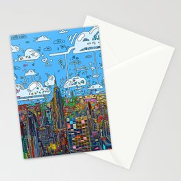 new york city skyline colorful Stationery Cards