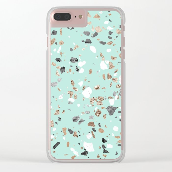 Glitter and Grit Marble Mint Green Clear iPhone Case