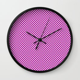 Red Violet and White Polka Dots Wall Clock