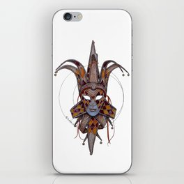 Male Venetian Jester Mask | Watercolor and Colored Pencil  iPhone Skin