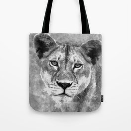 Grayscale Female Lion Digital Art Tote Bag