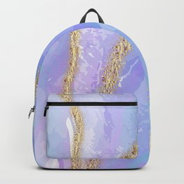 Blue and Pink Pastel Marble Print With Gold Colored Highlights Backpack