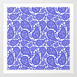 Paisley (Blue & White Pattern) Art Print