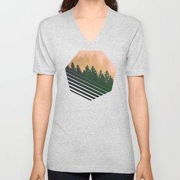Cascadia Green Trees and Sunset Unisex V-Neck