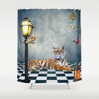 relax Shower Curtains featuring Relax by haroulita