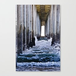 Abstract Low Tide Under Huntington Beach Pier Canvas Print