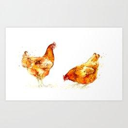 Chickens Series - Hen Pair Art Print