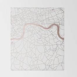 White on Rosegold London Street Map Throw Blanket