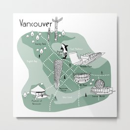 Mapping Vancouver - Green Metal Print
