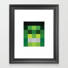 hero pixel green black Framed Art Print