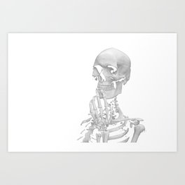 Thinking Skeleton (Black and White) Art Print