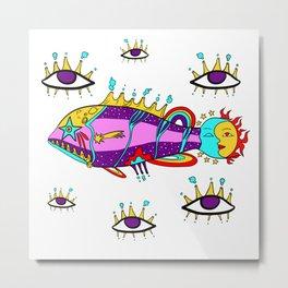 Cosmic fish with eyes Metal Print